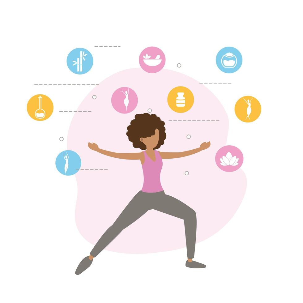 Woman exercising and doing yoga vector