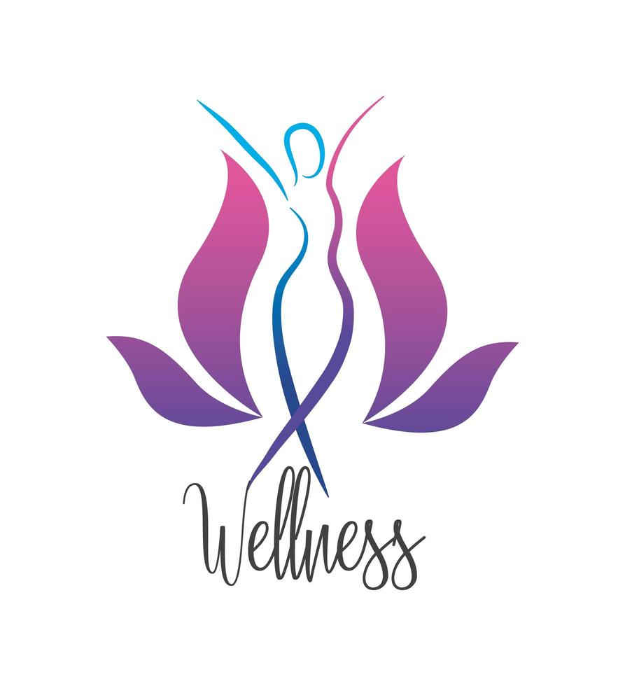 Wellness icons of women with nature elements vector