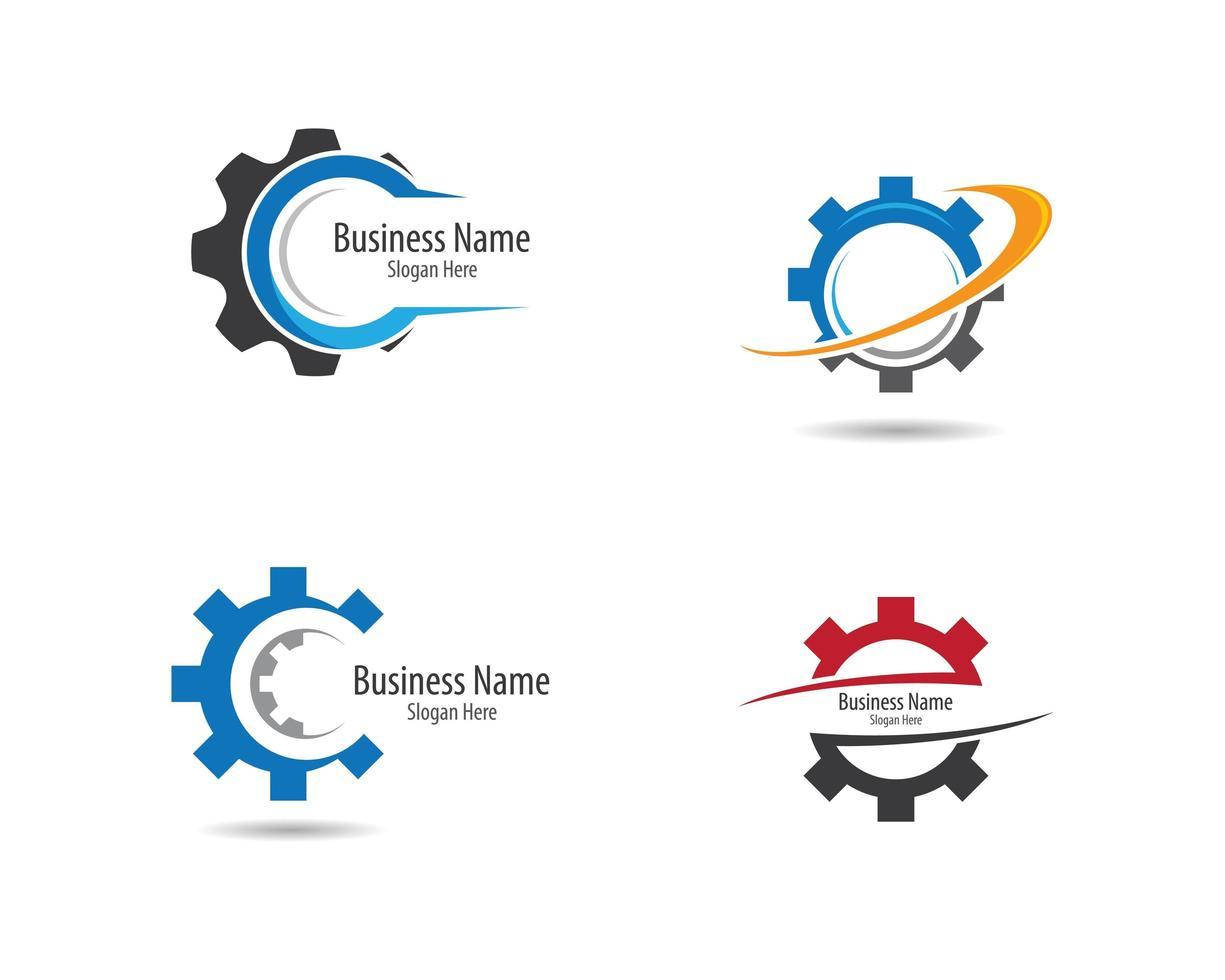 conjunto de logotipos de engranajes vector