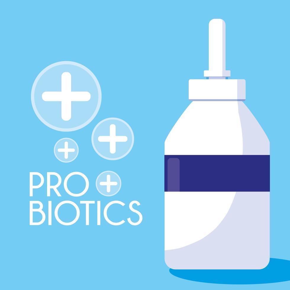 botella de medicamentos probióticos icono vector