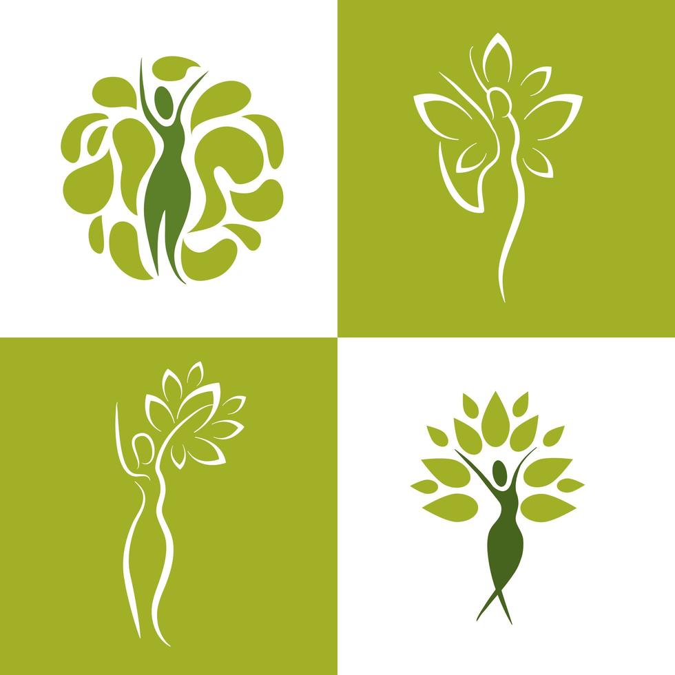 Set of wellness icons of women with nature vector