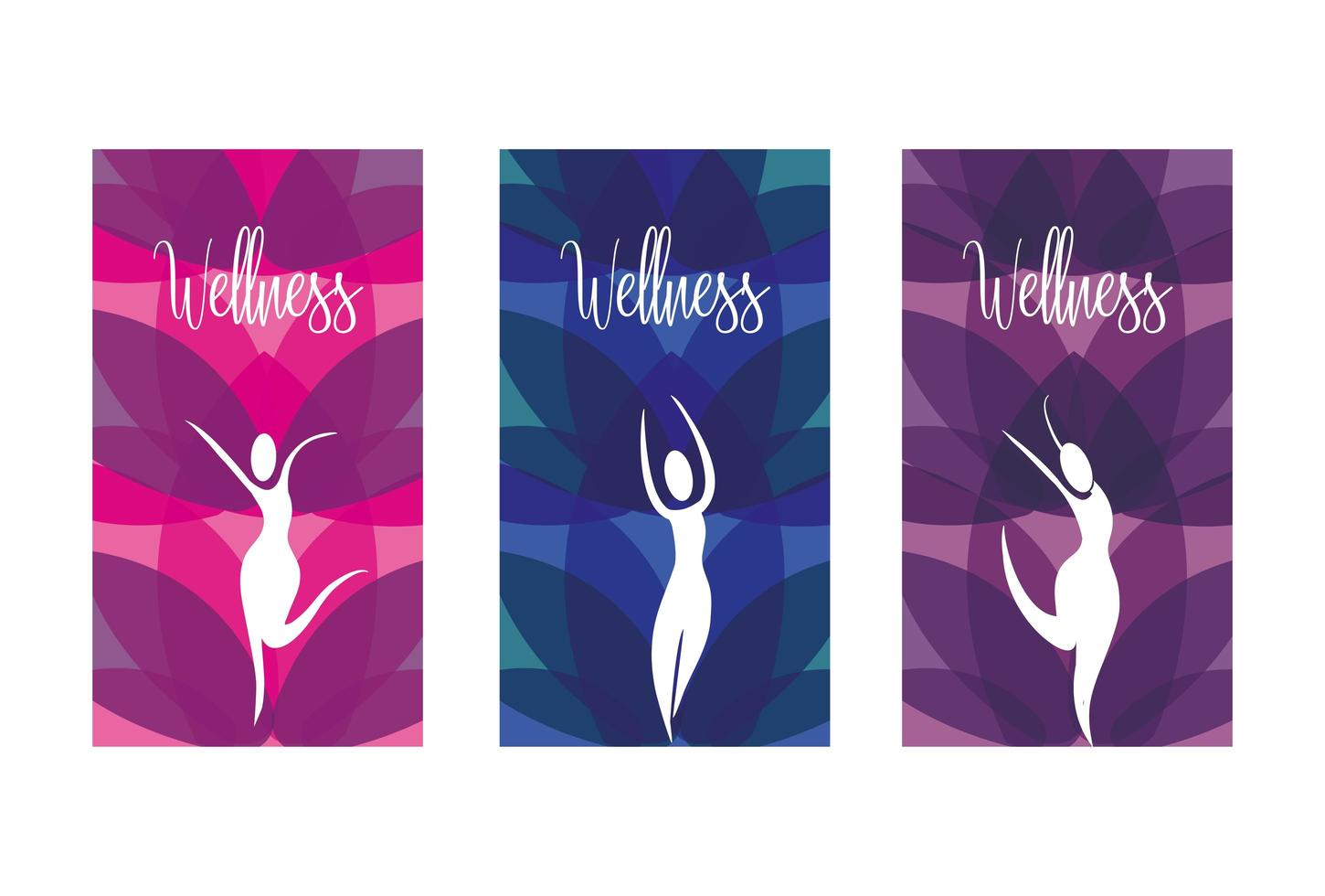 Set of wellness icons of women with nature elements vector
