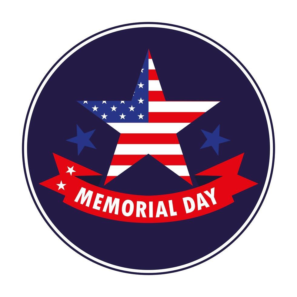 feliz día conmemorativo con estrella y bandera de estados unidos vector