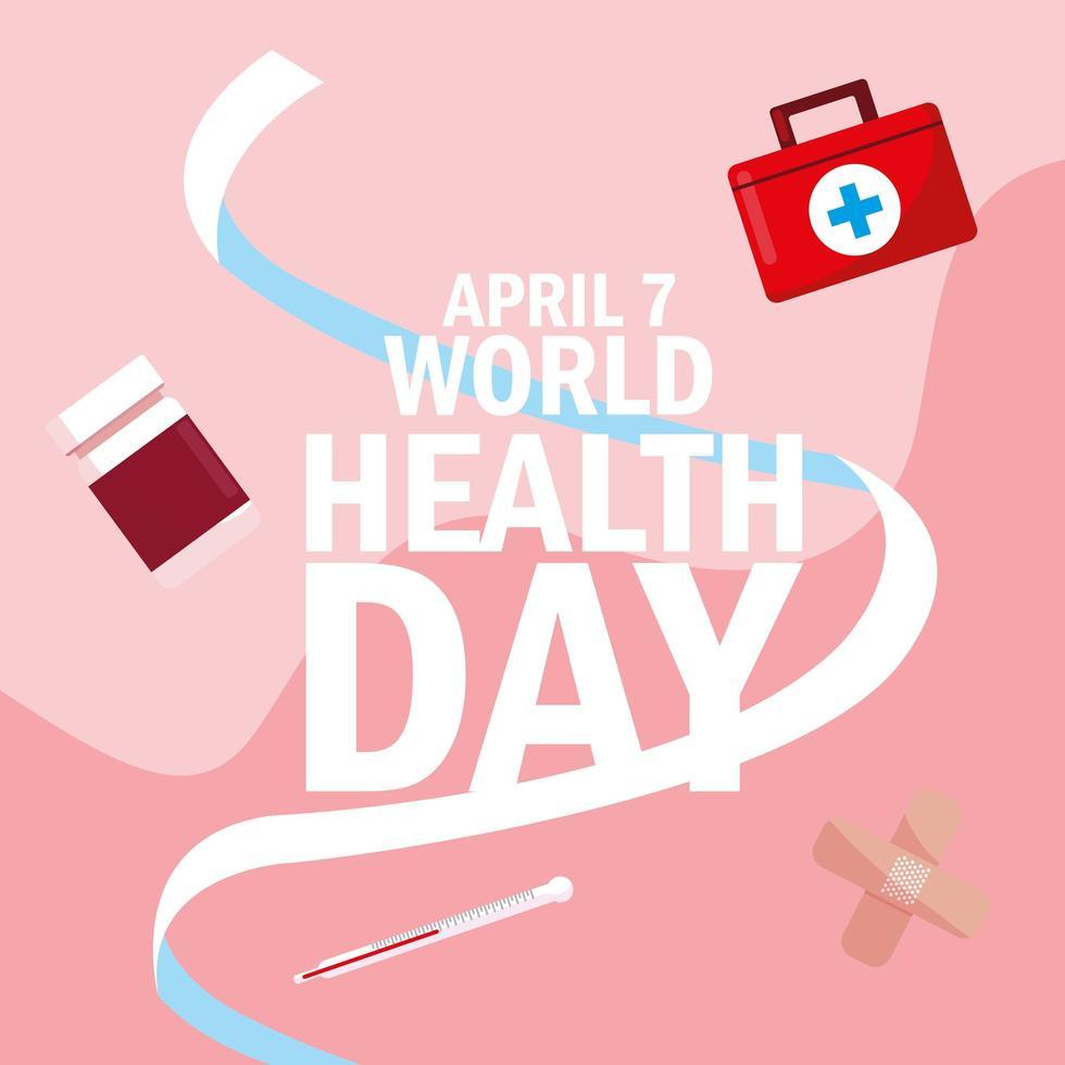tarjeta del día mundial de la salud con frascos de medicamentos e iconos vector