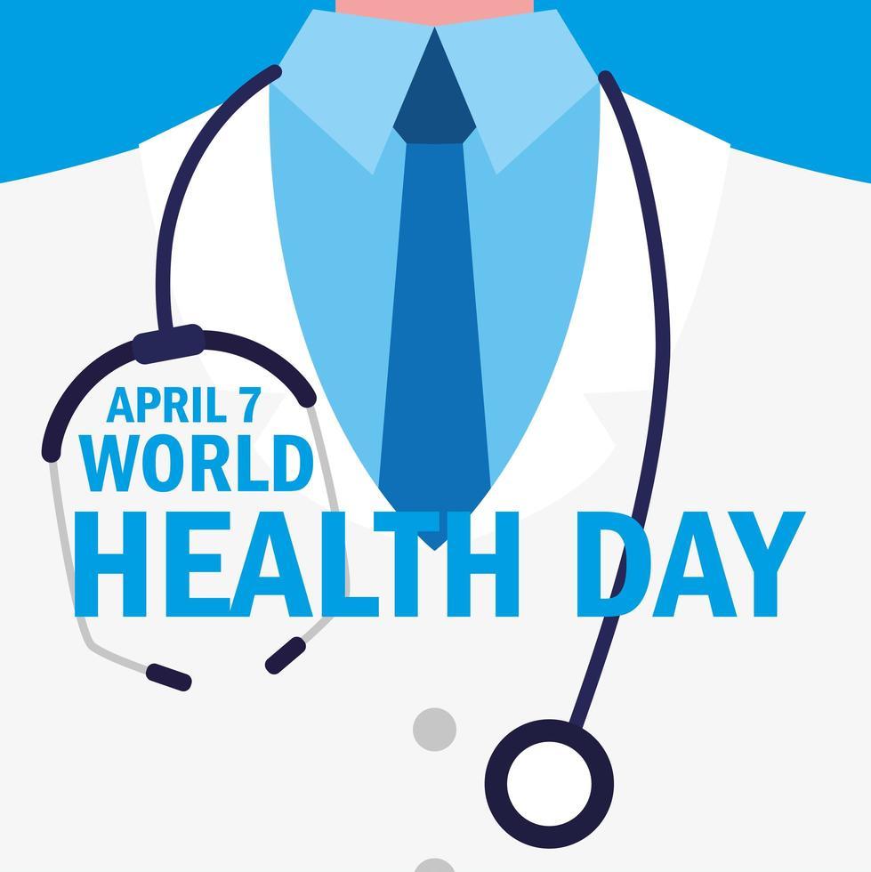 tarjeta del día mundial de la salud con doctor vector