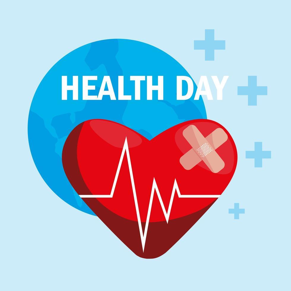 tarjeta del día mundial de la salud con corazón vector