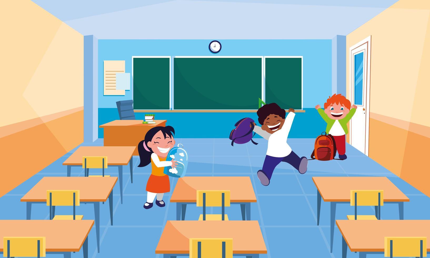 pequeños estudiantes niños en el aula vector
