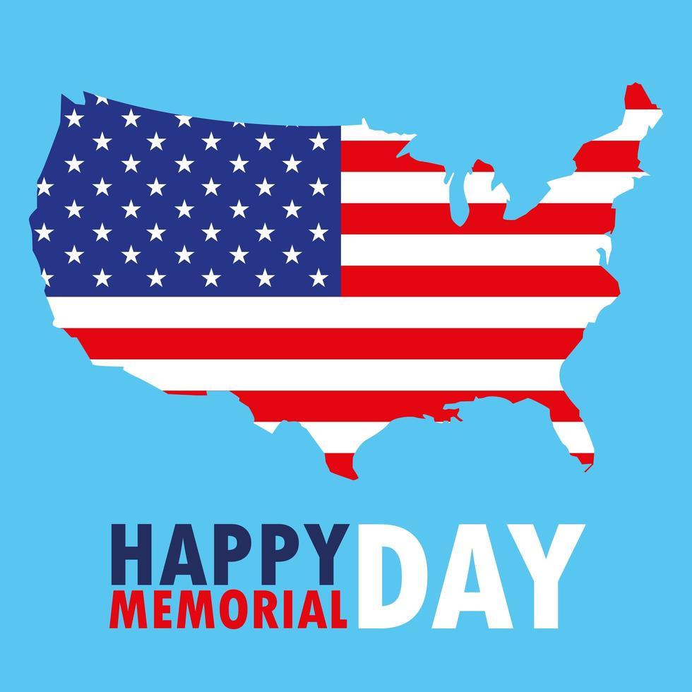 Tarjeta del feliz día de los caídos con la bandera y el mapa de Estados Unidos vector