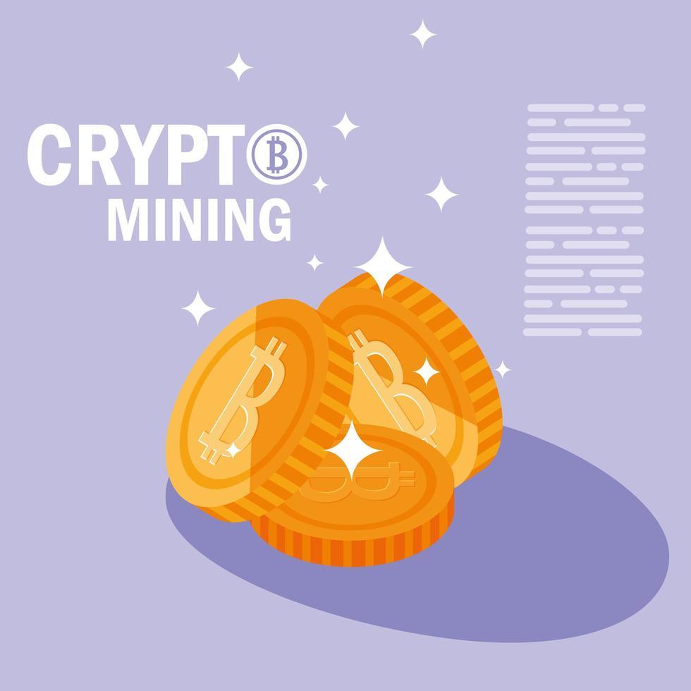 Crypto mining bitcoin icons vector