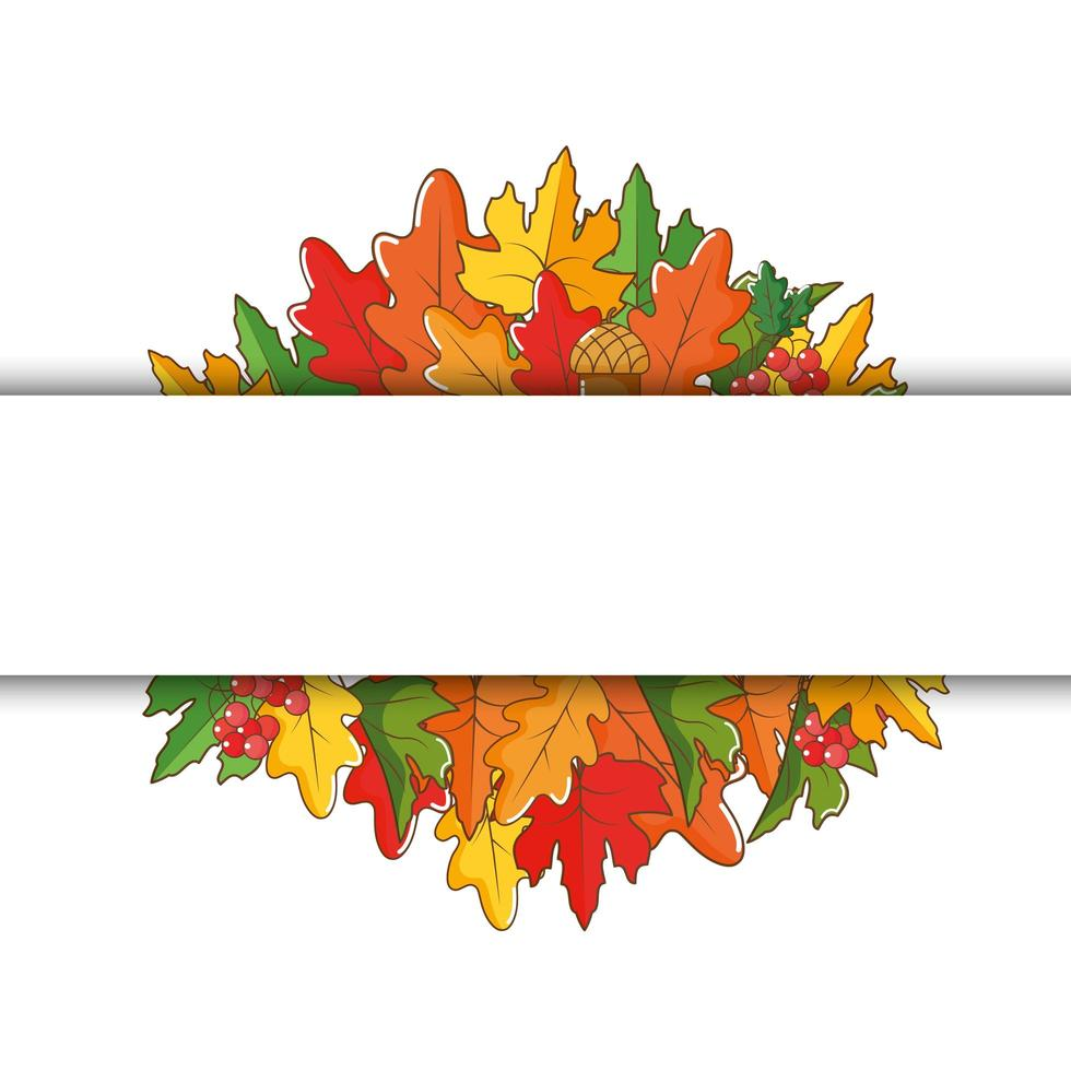 banner de folhas de outono com espaço para texto vetor