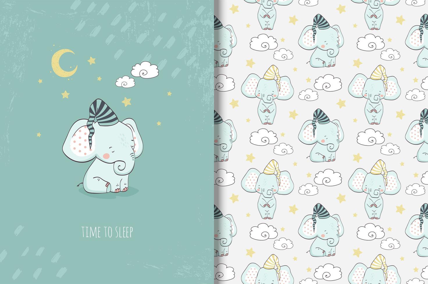 bebê elefante hora de dormir desenho e padrão vetor