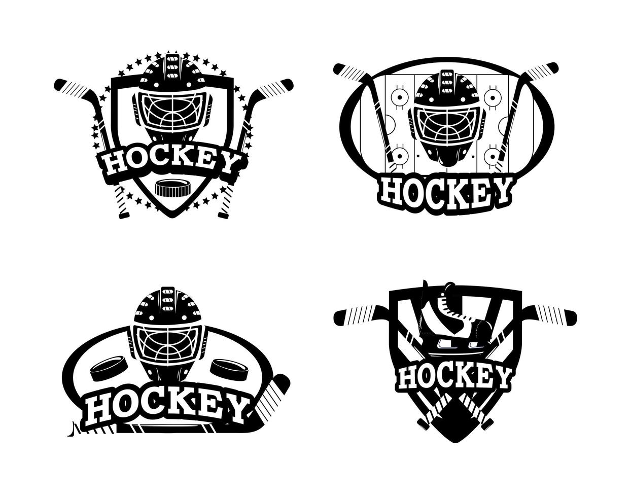 Set of hockey silhouette emblem icons vector