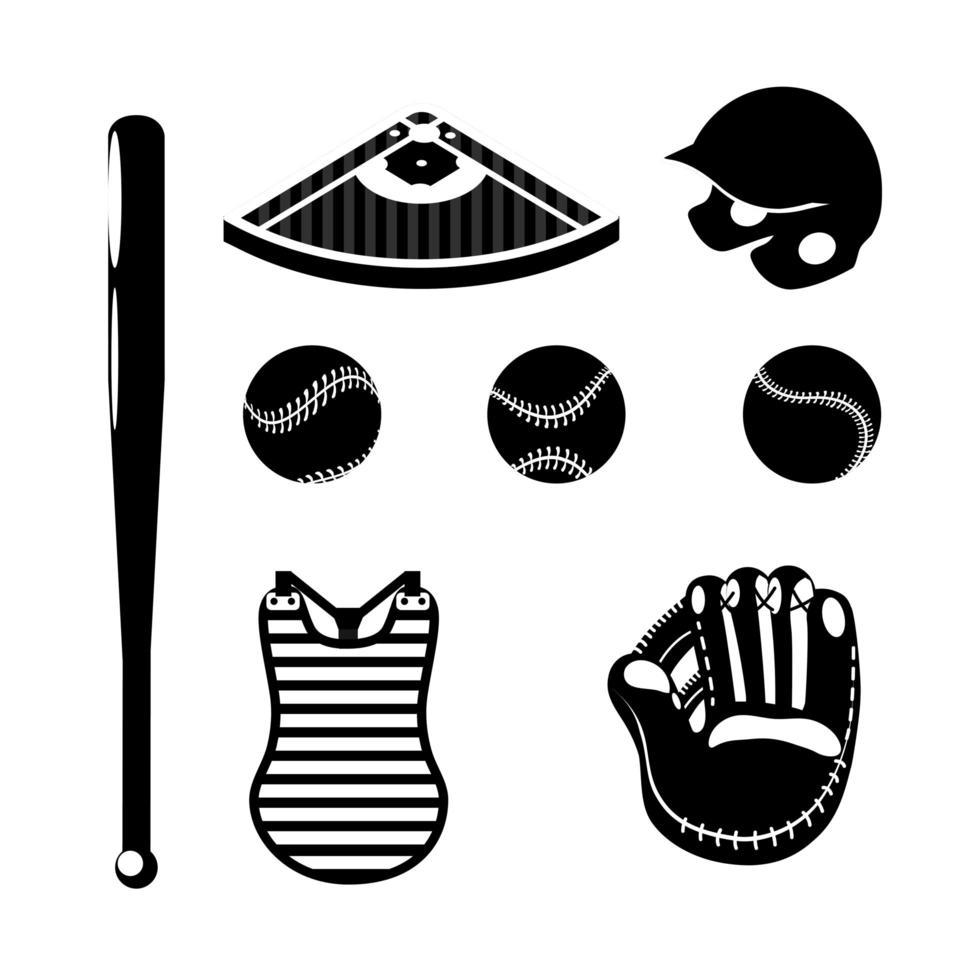 conjunto de iconos de silueta de béisbol vector