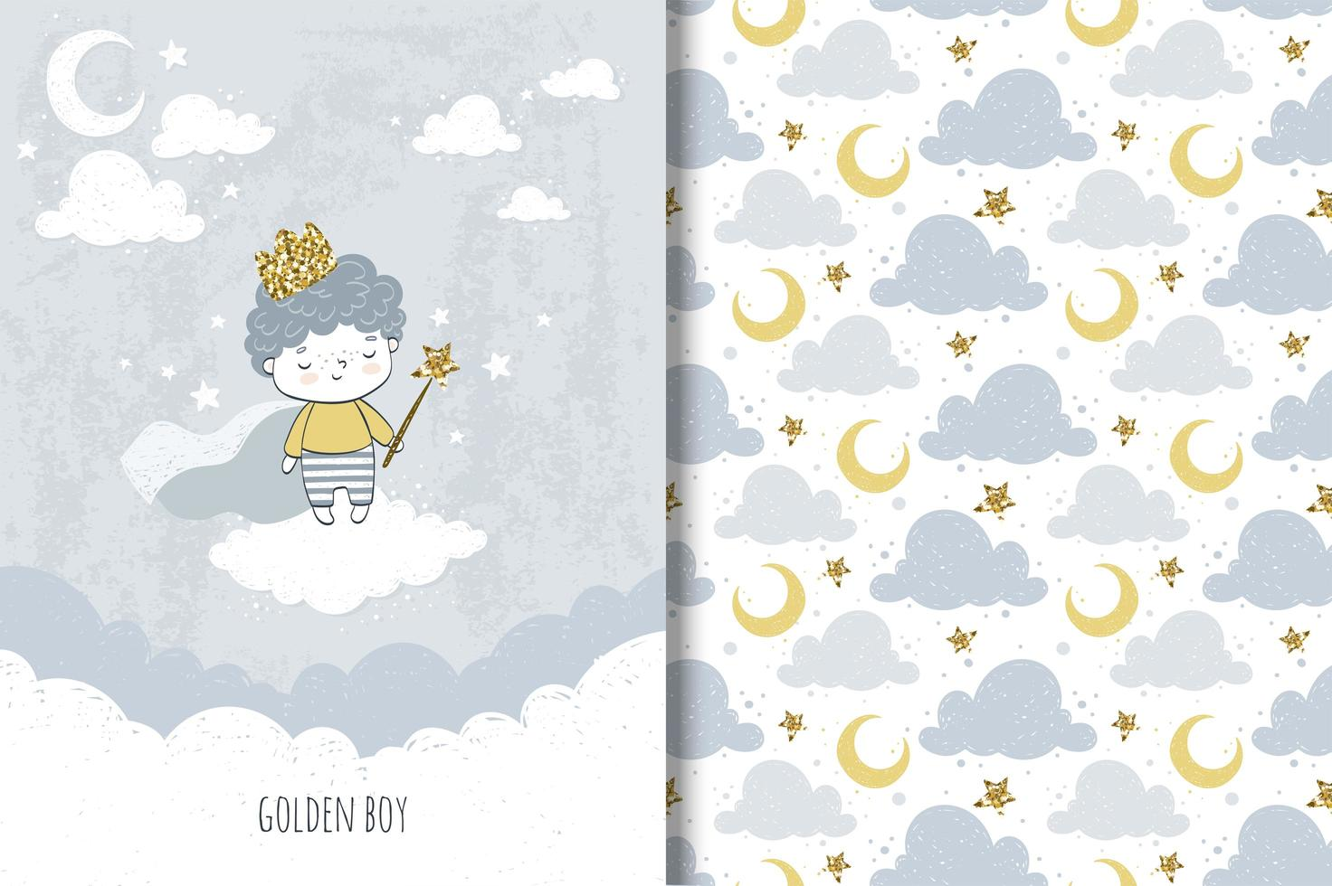 Little golden prince boy and cloud and moon pattern vector