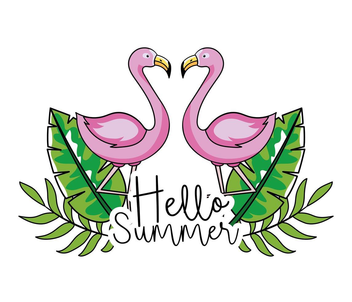 flamencos con hojas tropicales para el diseño de verano vector