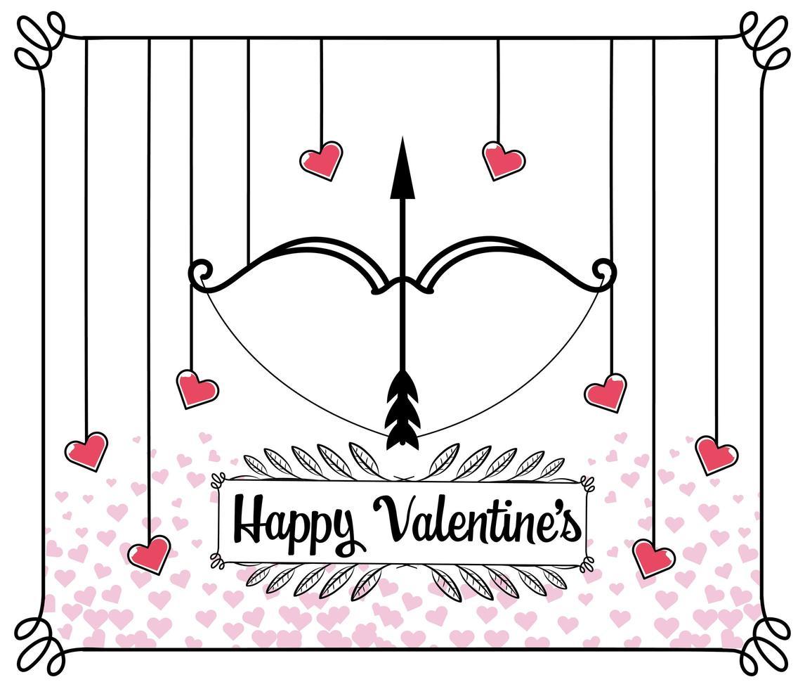 tarjeta de felicitación del día de san valentín con flecha y arco vector