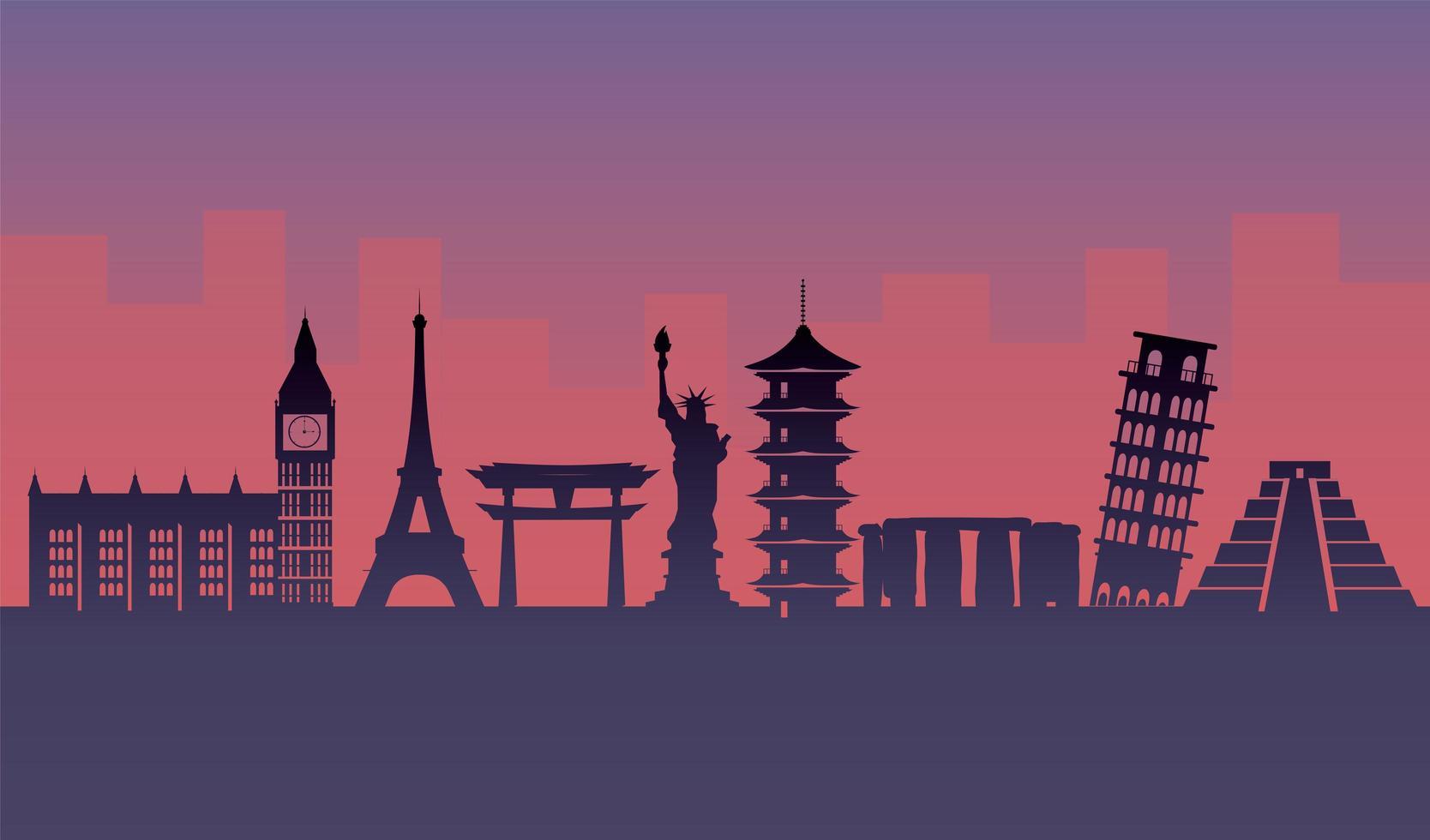 diseño de silueta de atracciones turísticas vector
