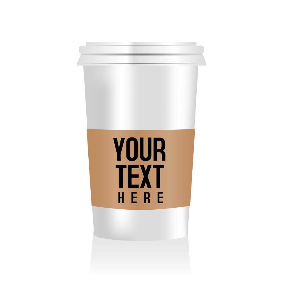 taza de café en blanco realista para maqueta de embalaje vector