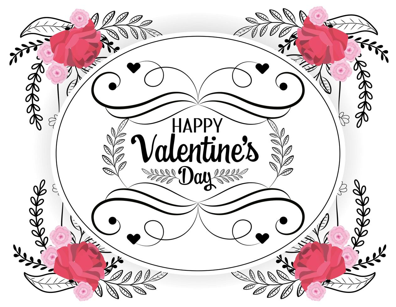 Bohemian Valentines day greeting card  vector