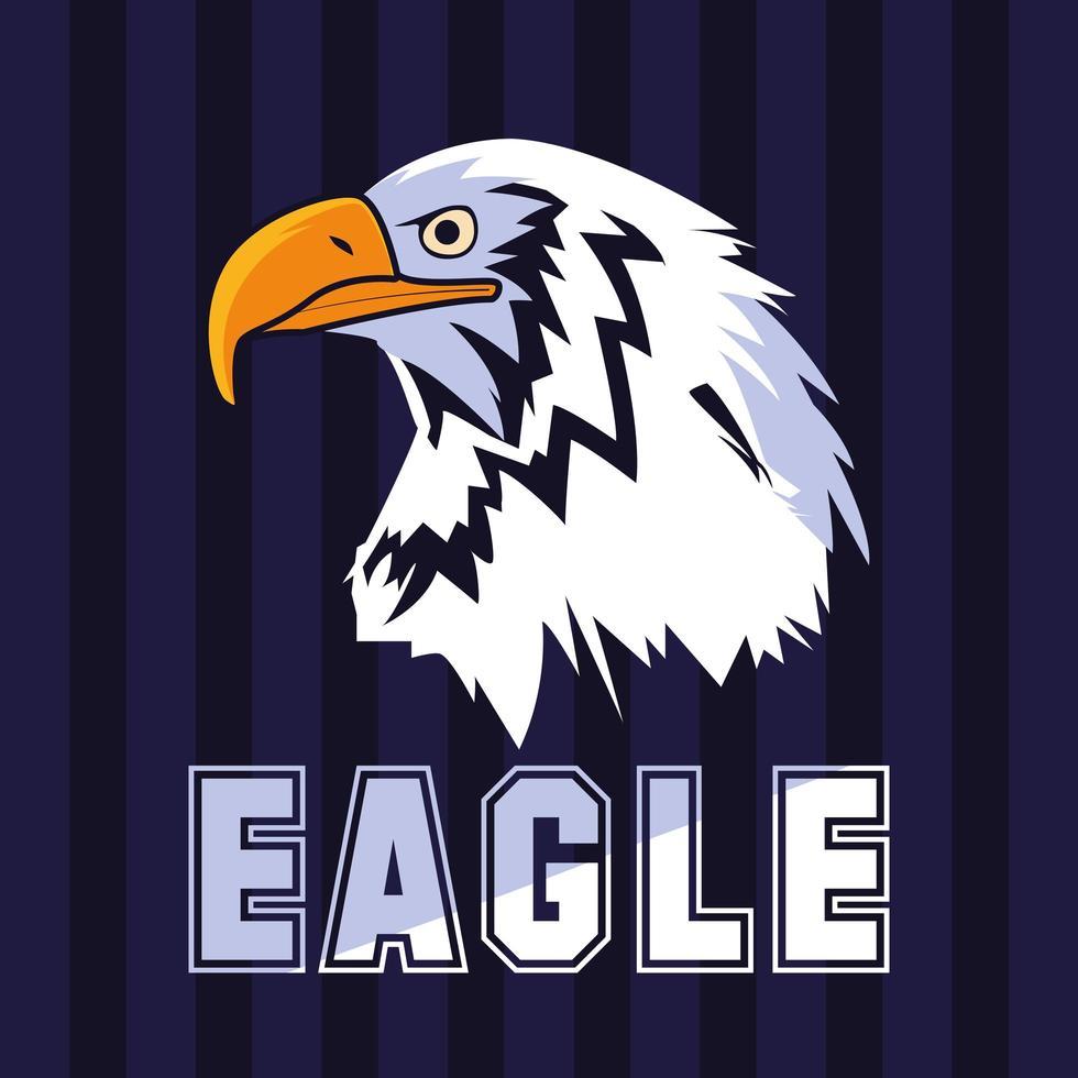 cabeza de pájaro águila calva con palabra vector