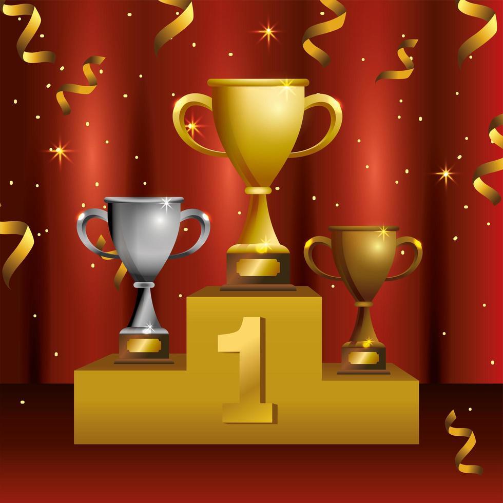 design de modelo de celebração de prêmio com pódio e troféus vetor