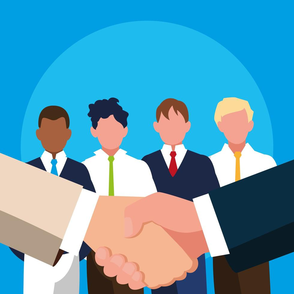 Hands shake with businessmen avatar character vector