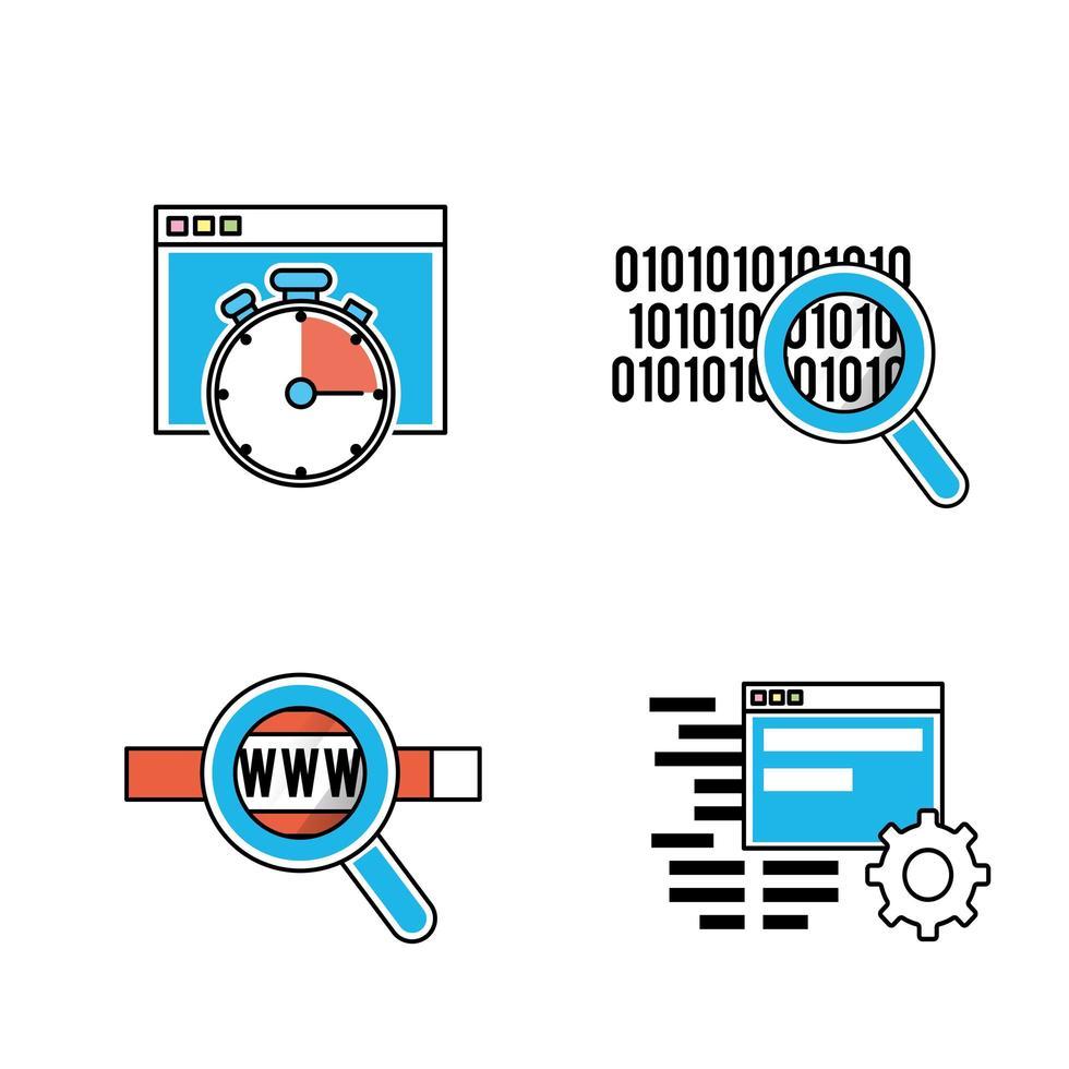 conjunto de iconos de programación y codificación vector