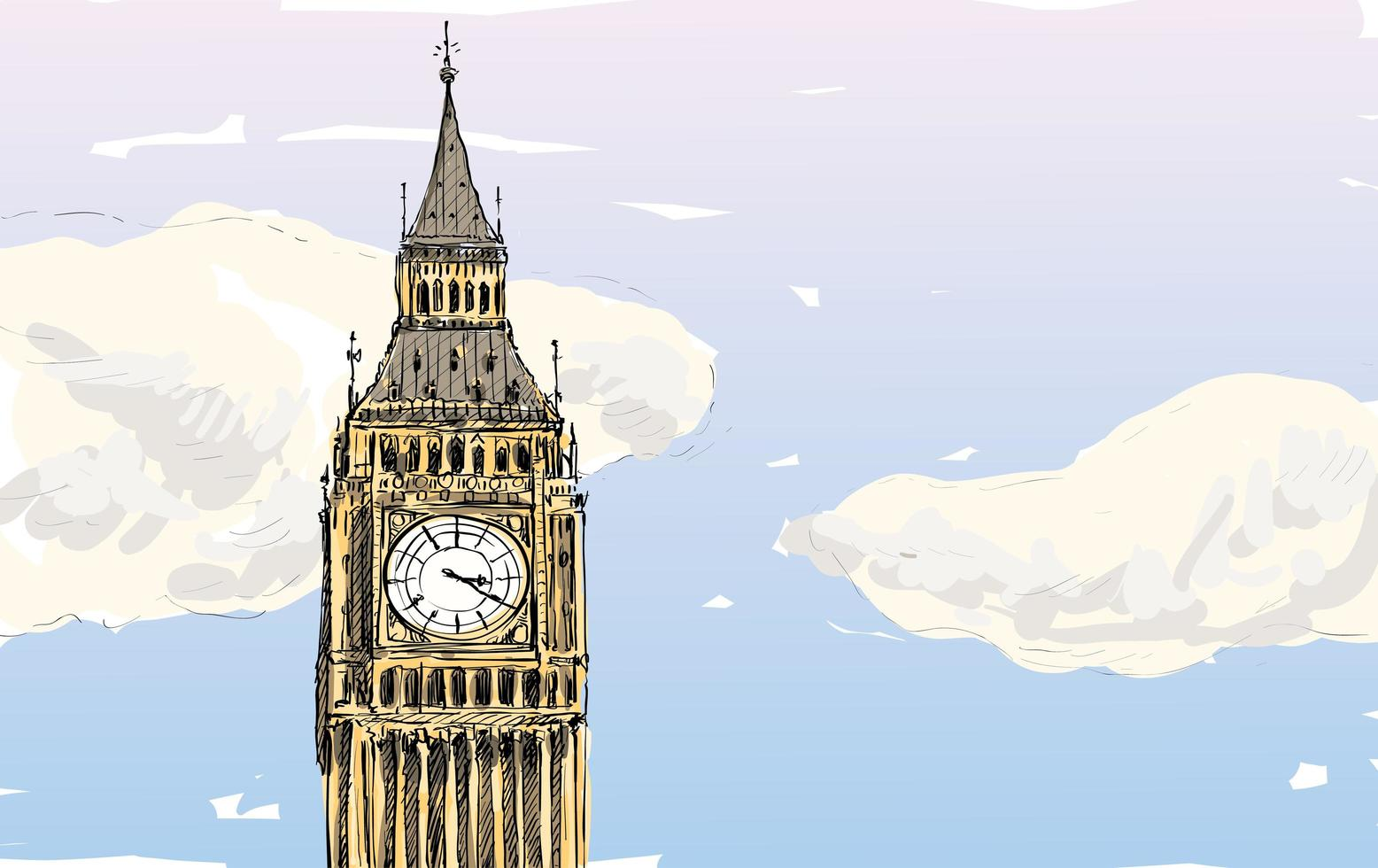 boceto a color del big ben, torre de londres vector