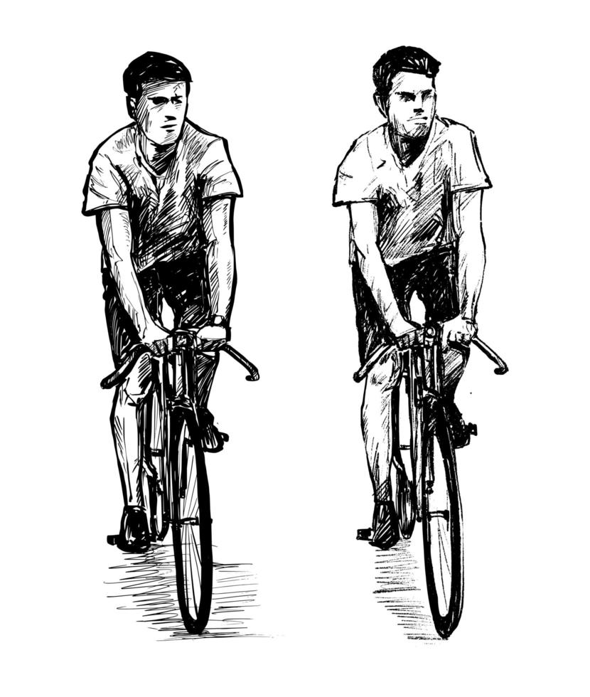 Sketch of men ridding fixed gear bicycles vector
