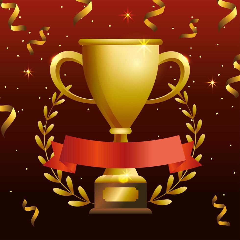 banner de celebração com troféu de ouro vetor