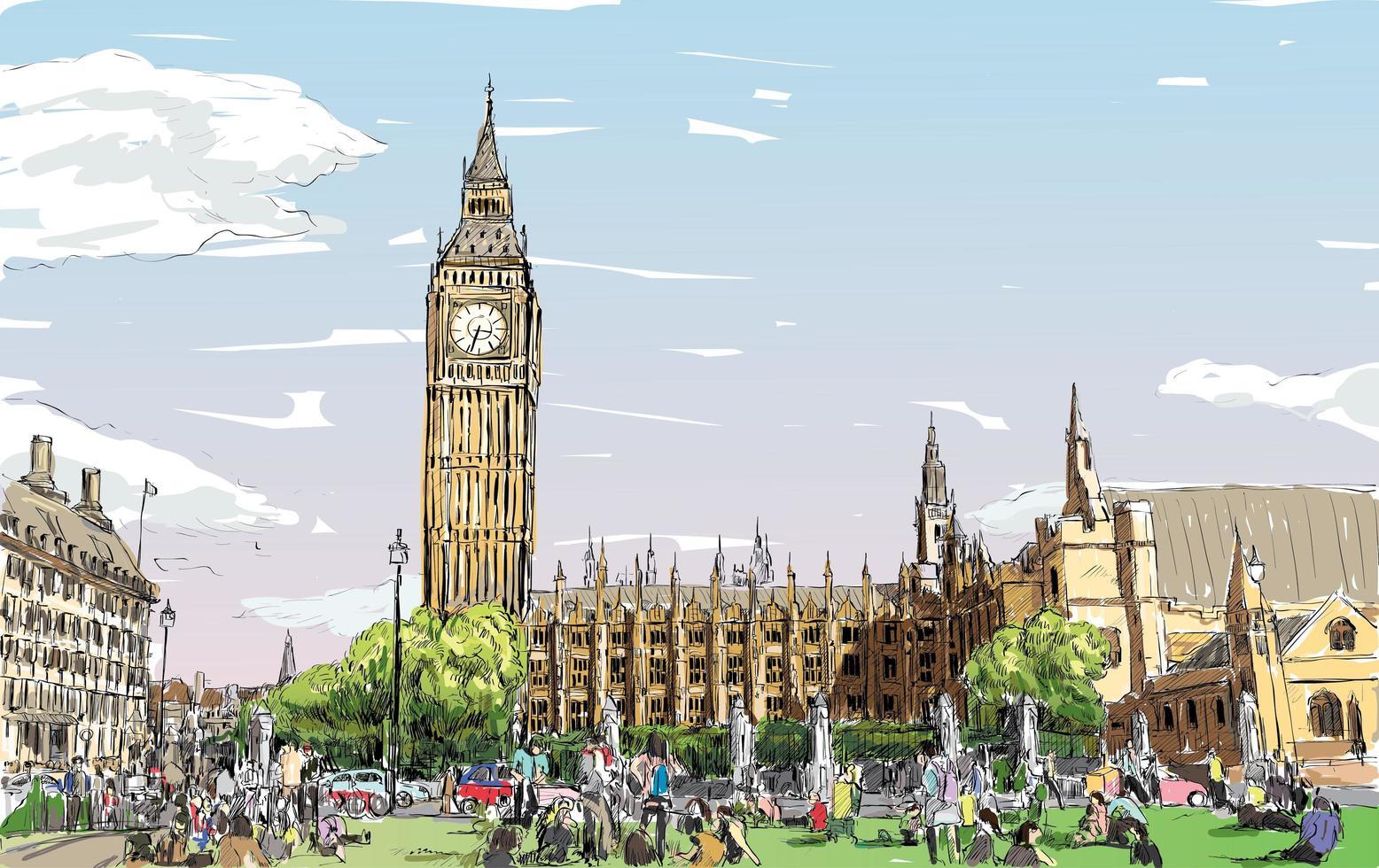 Color sketch of London's cityscape  vector