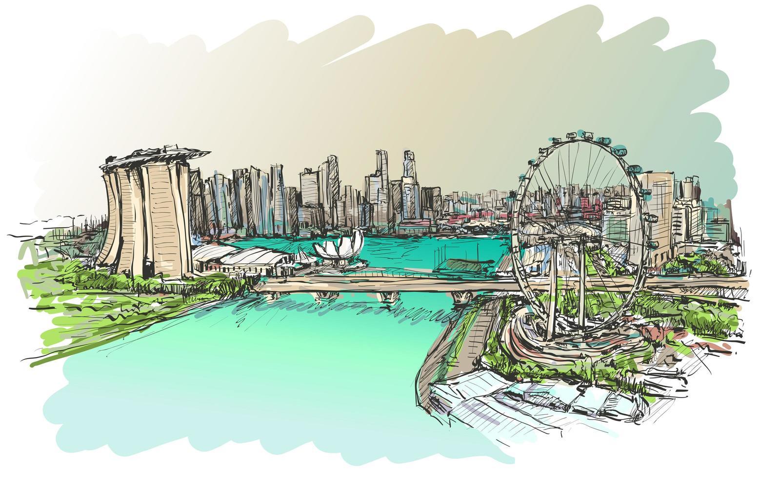 boceto a color del horizonte de singapur vector
