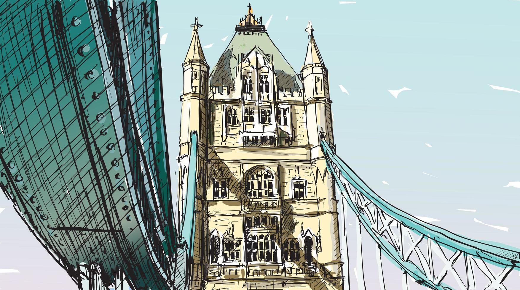 esboço colorido da ponte da torre de Londres vetor