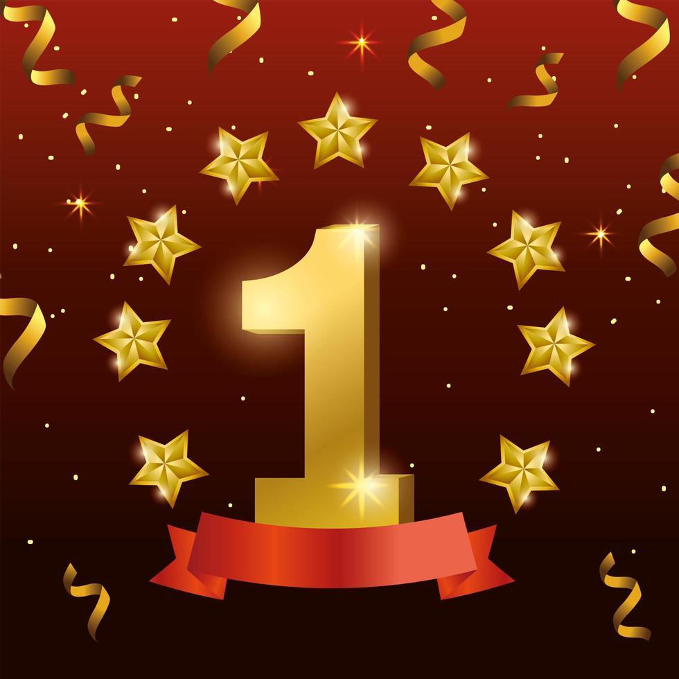 Diseño de celebración ganador con estrellas y confeti. vector