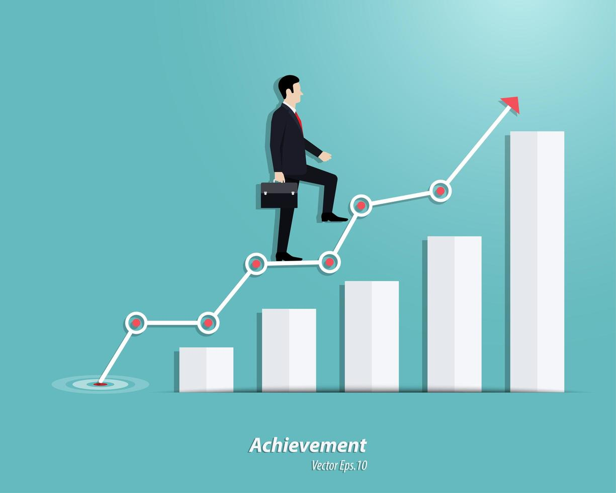 Businessman walking up to the steps or success chart vector