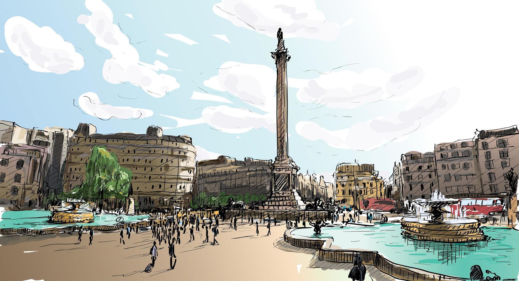 Color sketch of London, England landscape vector