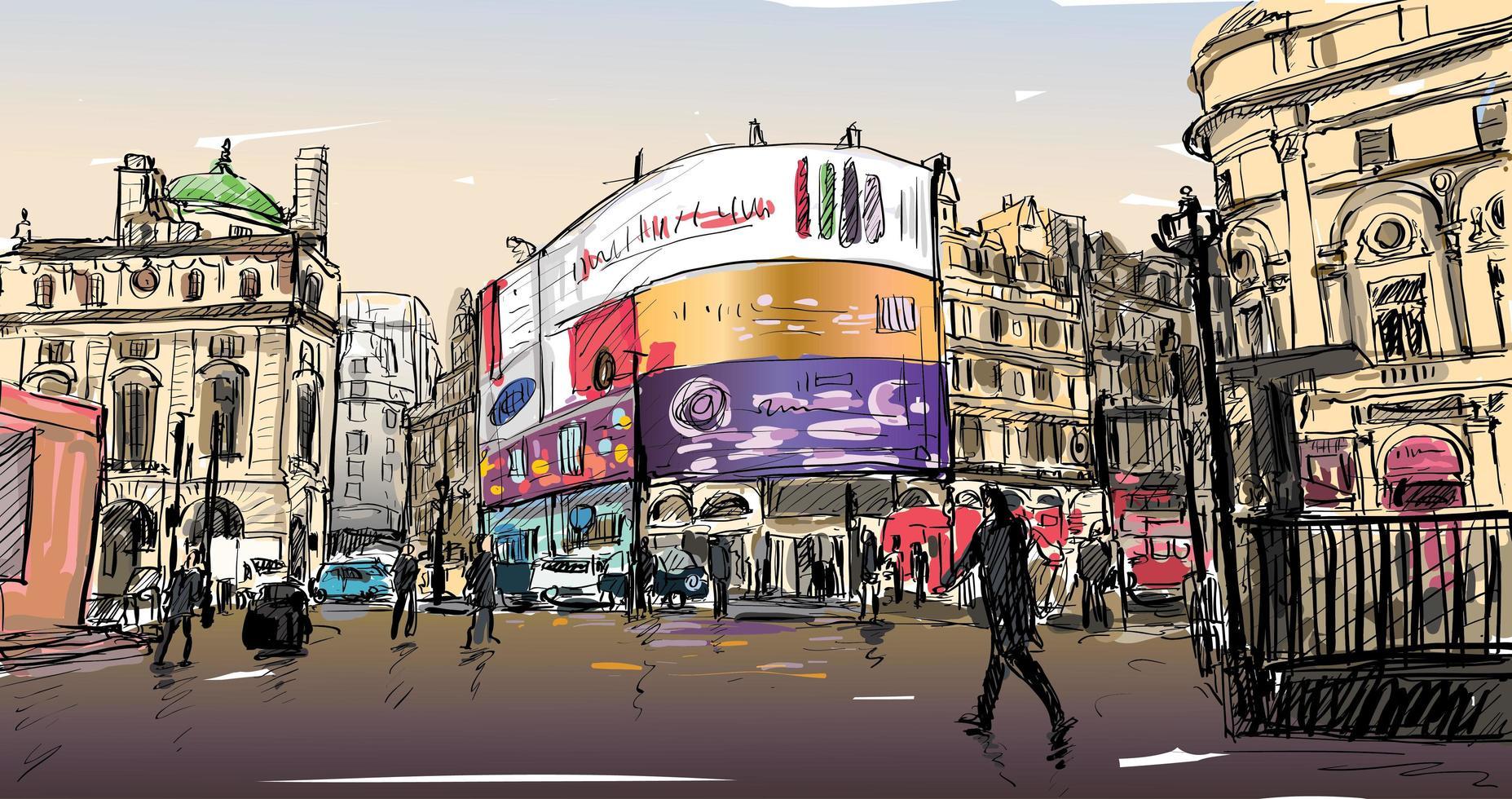 Boceto a color del paisaje urbano en Inglaterra vector