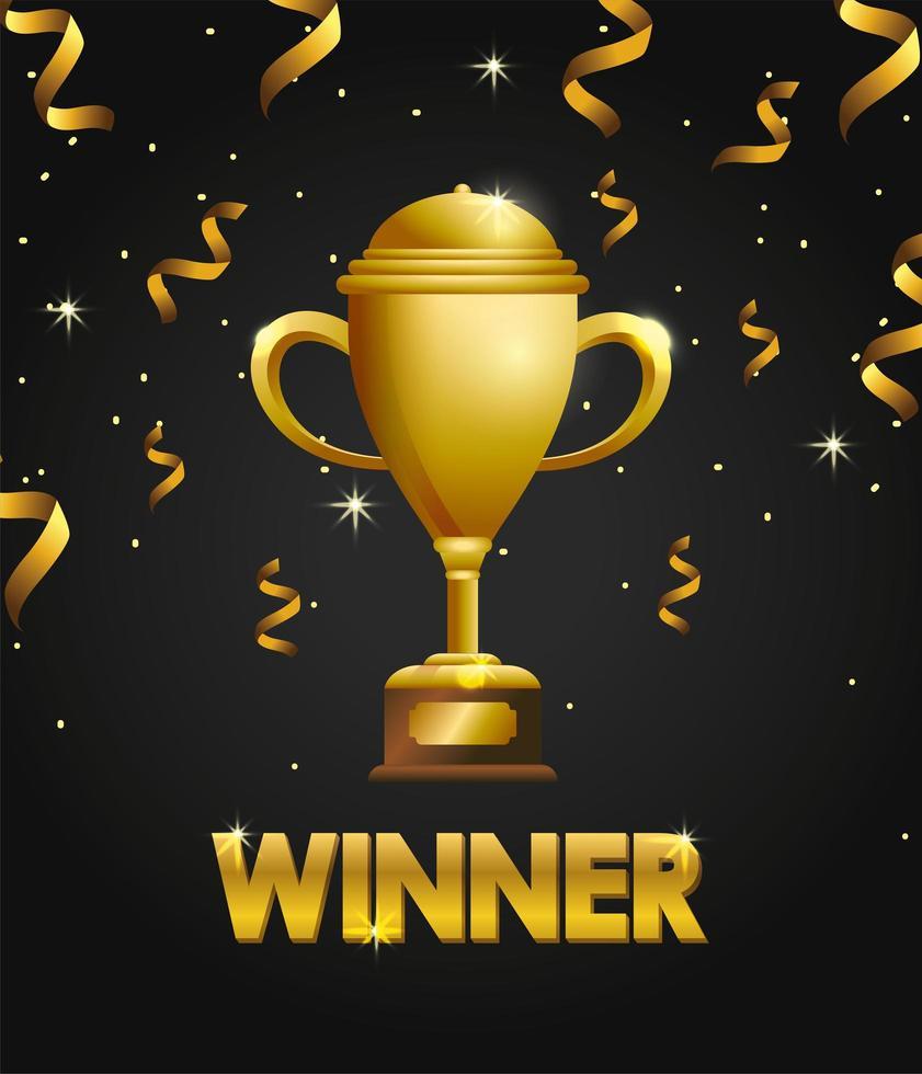 design de modelo de celebração de prêmio com troféu vetor