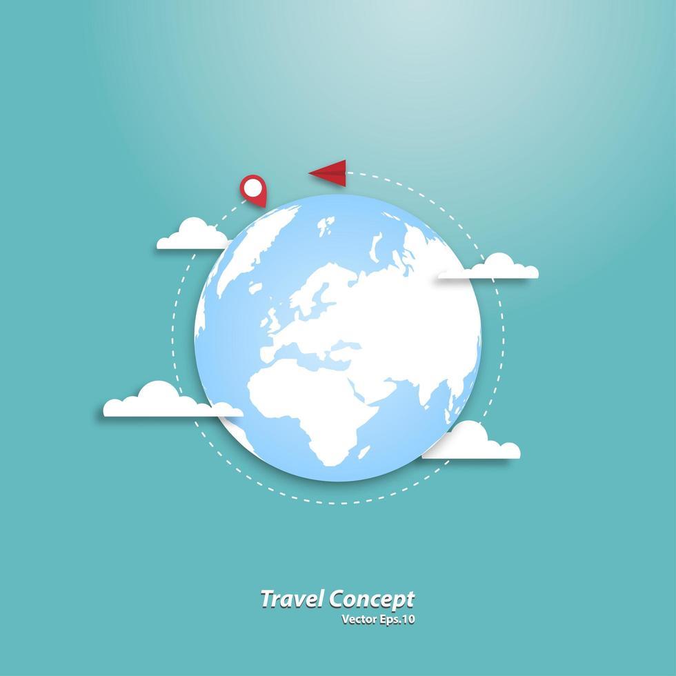 avião de papel voando ao redor do mundo vetor