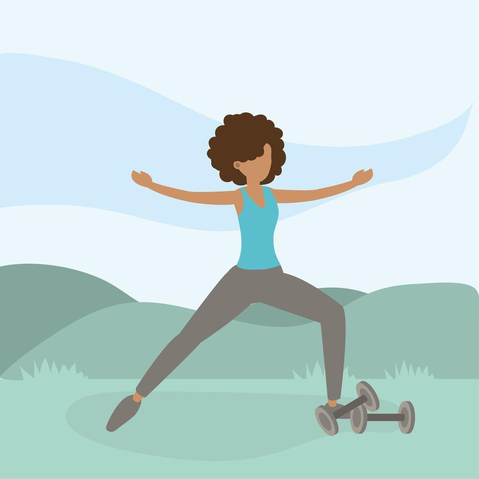 Athletic woman exercising outdoors vector