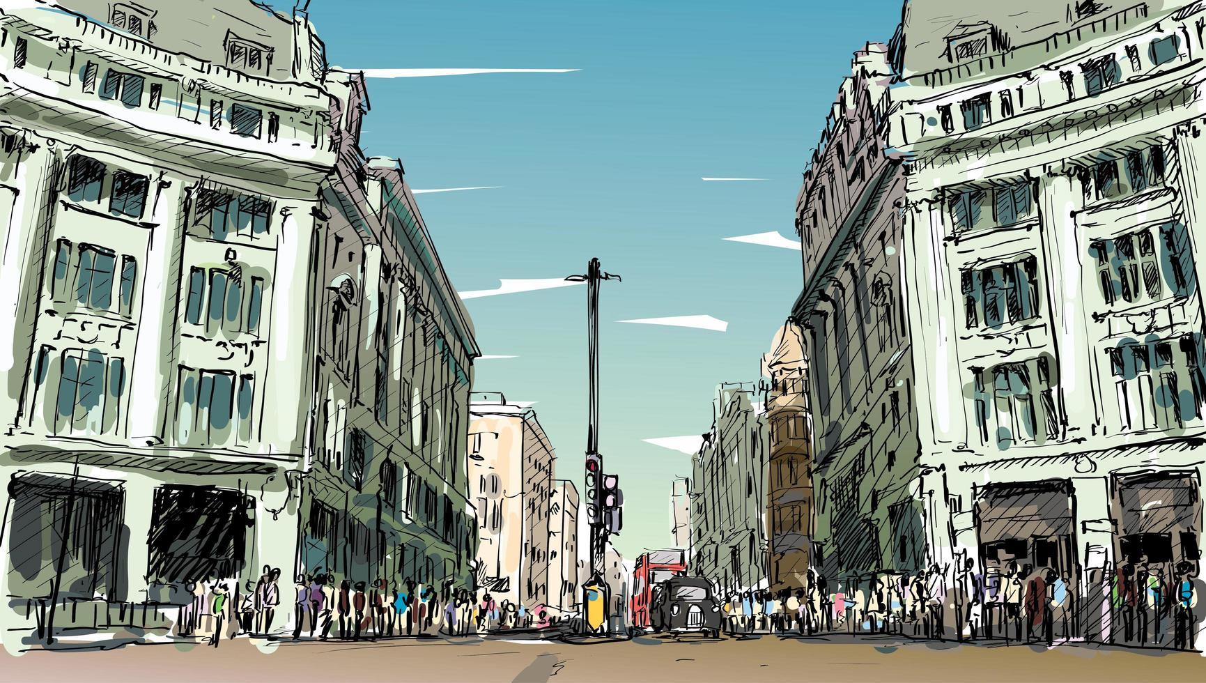 Boceto a color de un paisaje urbano en Inglaterra vector