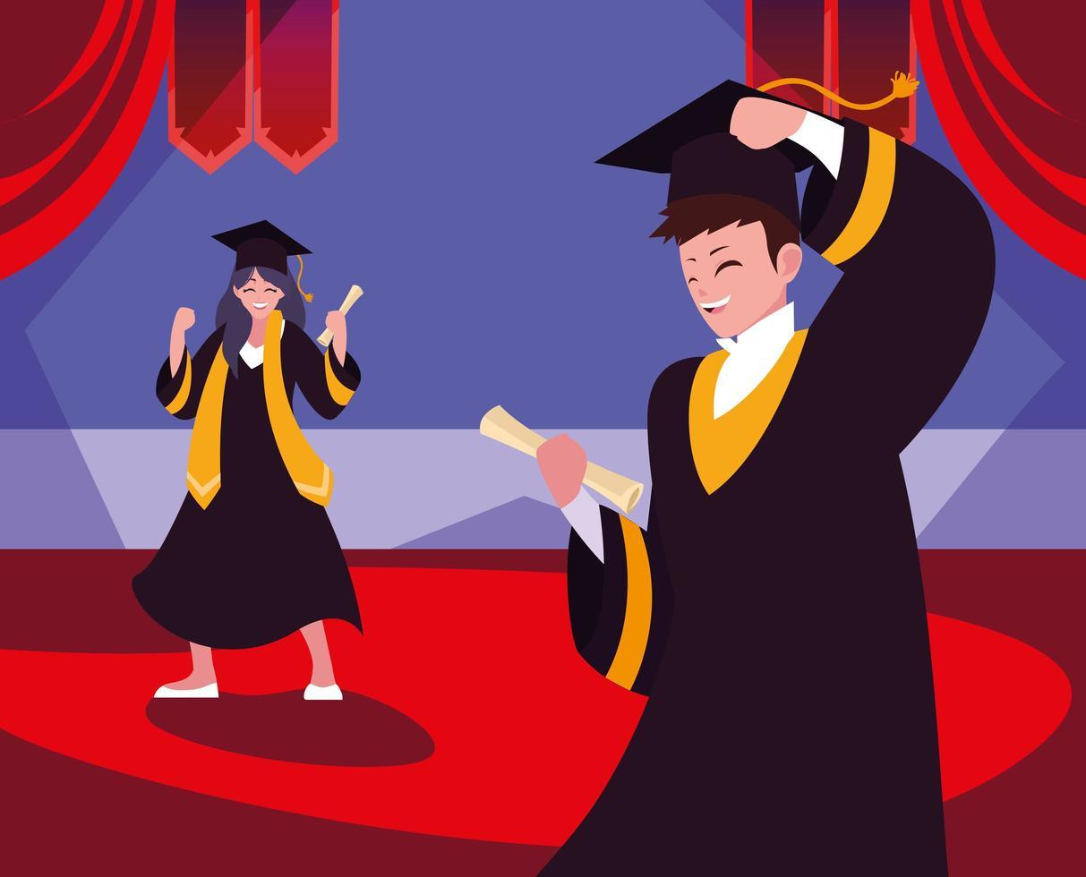 estudiantes graduados en diseño de celebración vector