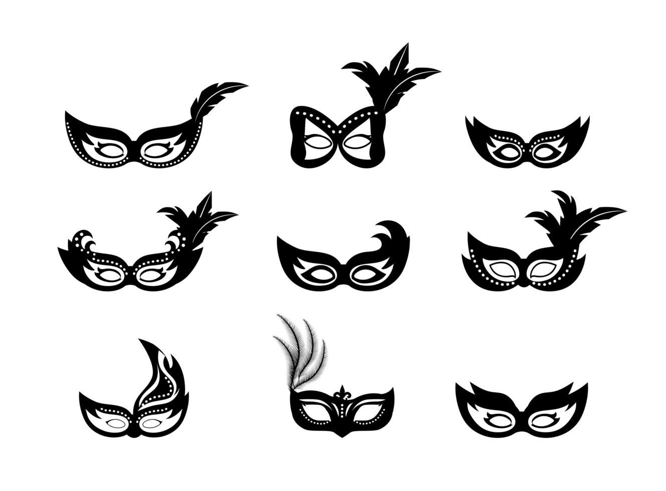 Máscaras de Mardi Gras silueta conjunto de iconos vector