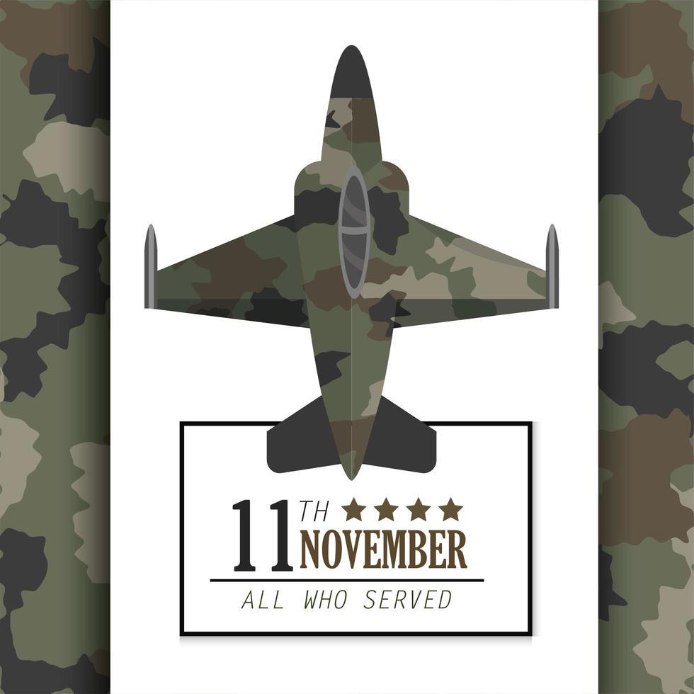 diseño de celebración del día de los veteranos con avión militar vector