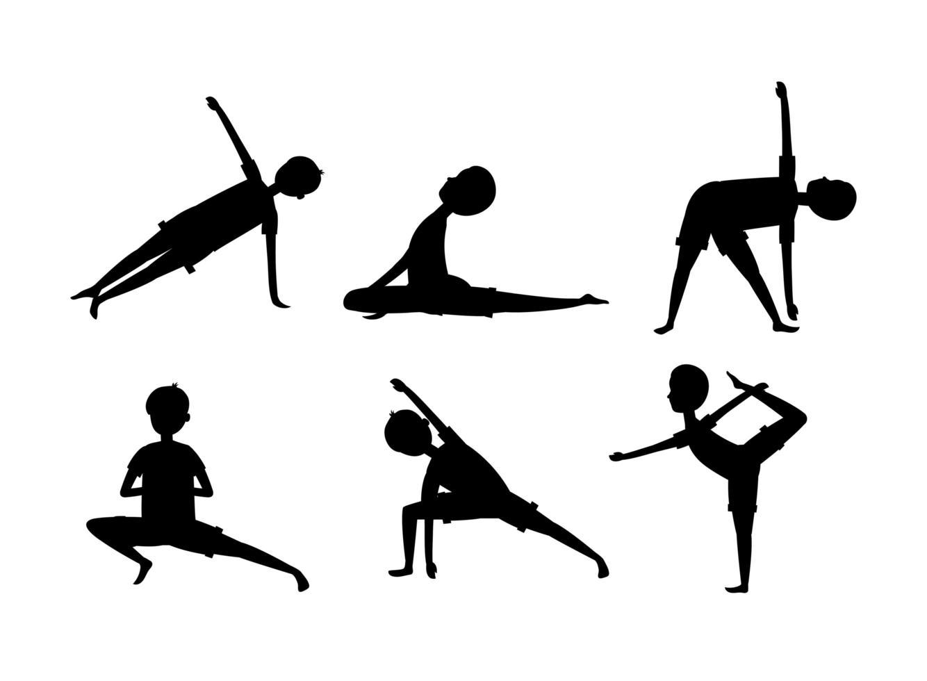 hombre, hacer, yoga, silueta, icono, conjunto vector