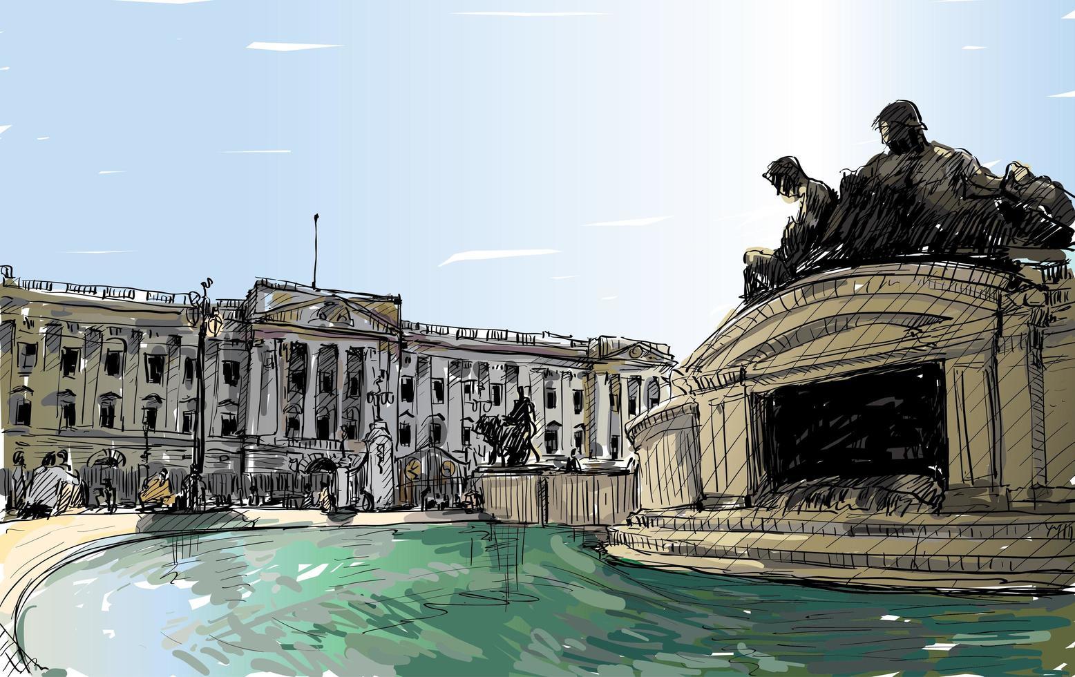 Hand-drawn color sketch of London, England landscape vector