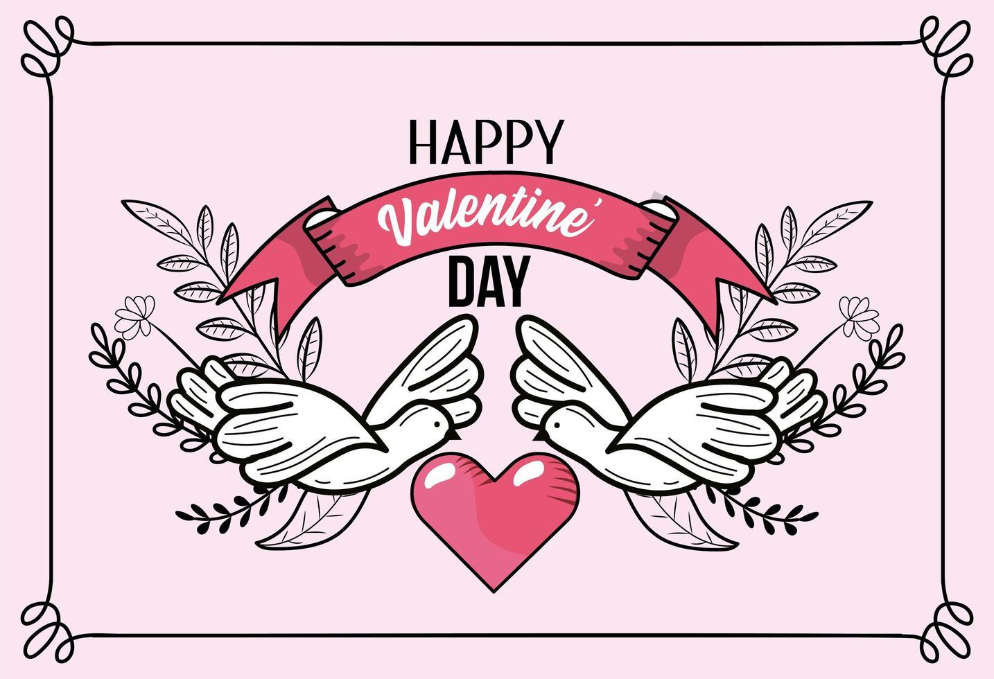 tarjeta de felicitación del día de san valentín con palomas vector