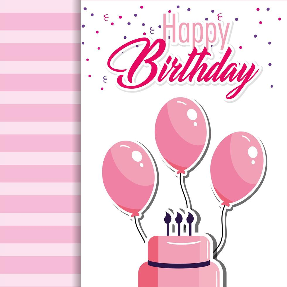 Plantilla de tarjeta de cumpleaños con pastel rosa y globos. vector
