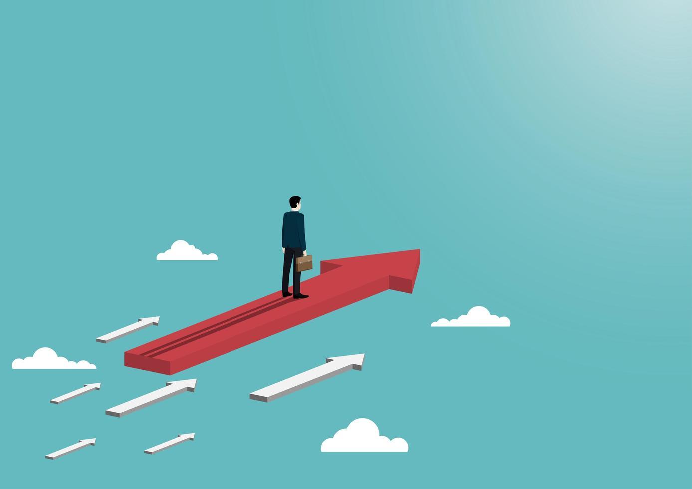 flechas de negocios y nubes vector