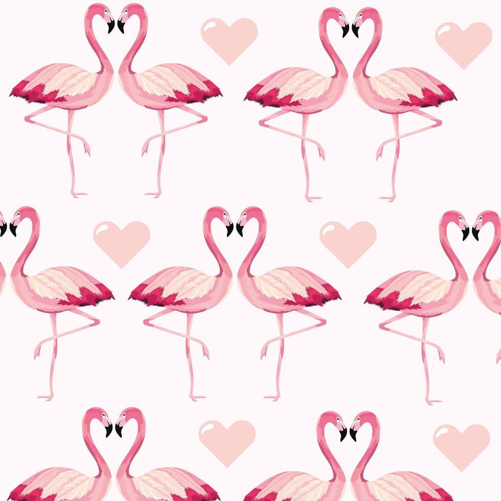 fundo padrão de flamingos e corações vetor